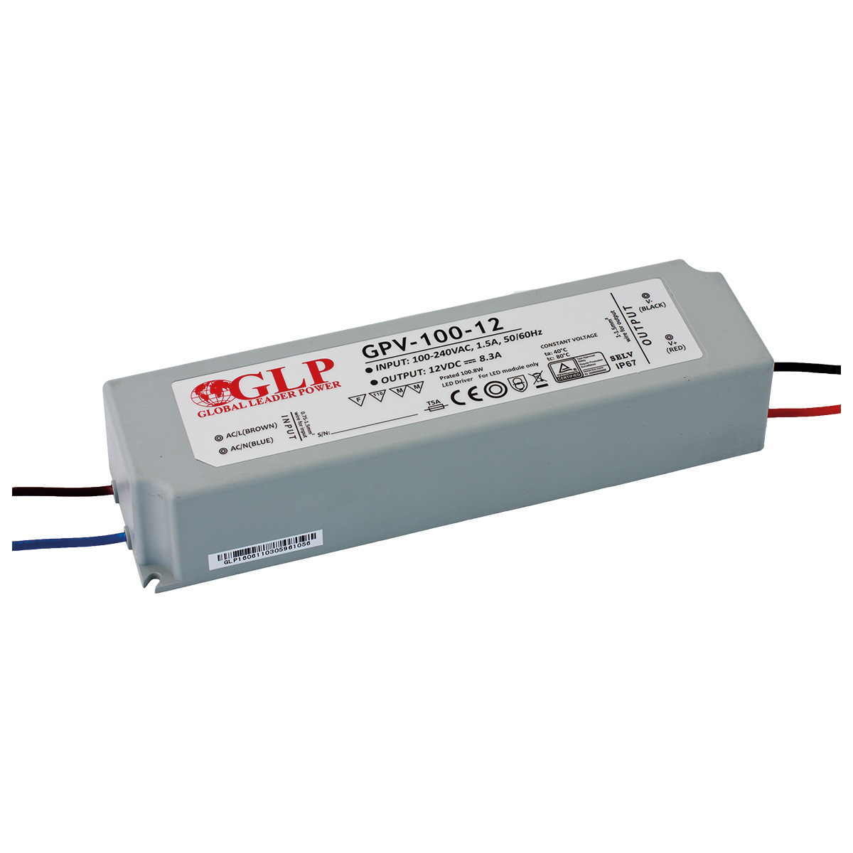 LED trafo GLP GPV-100-12 venkovní IP67 100W 12V, záruka 3 roky
