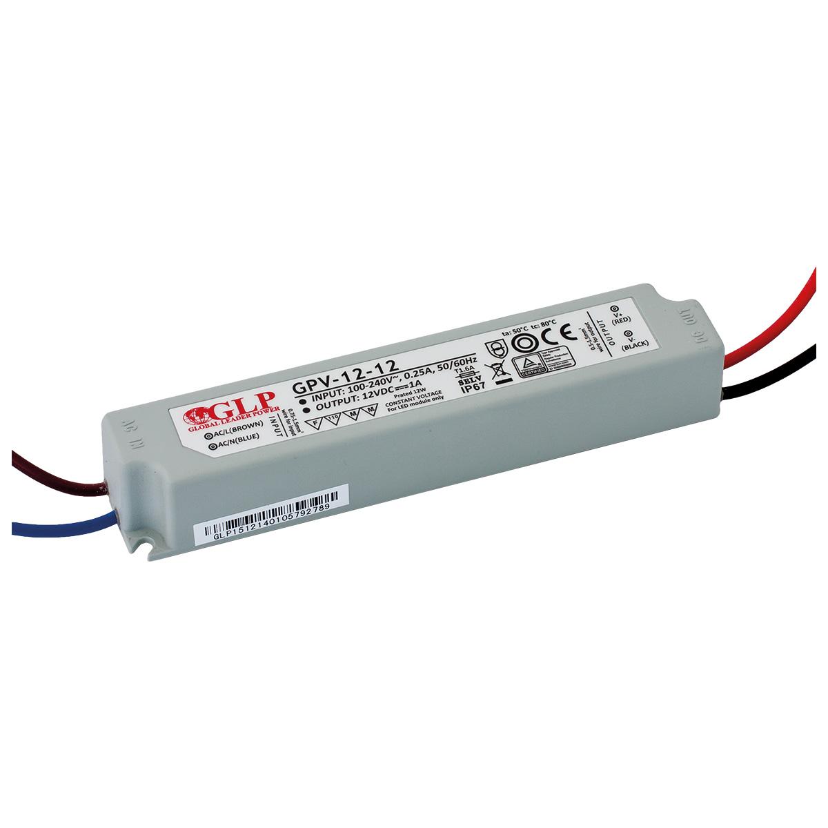 LED trafo GLP GPV-12-12 venkovní IP67 12W 12V, záruka 3 roky