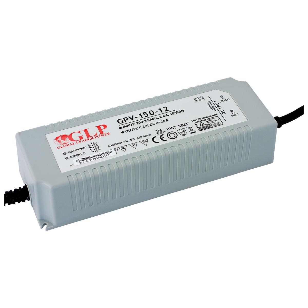 LED trafo GLP GPV-150-12 venkovní IP67 120W 12V, záruka 3 roky