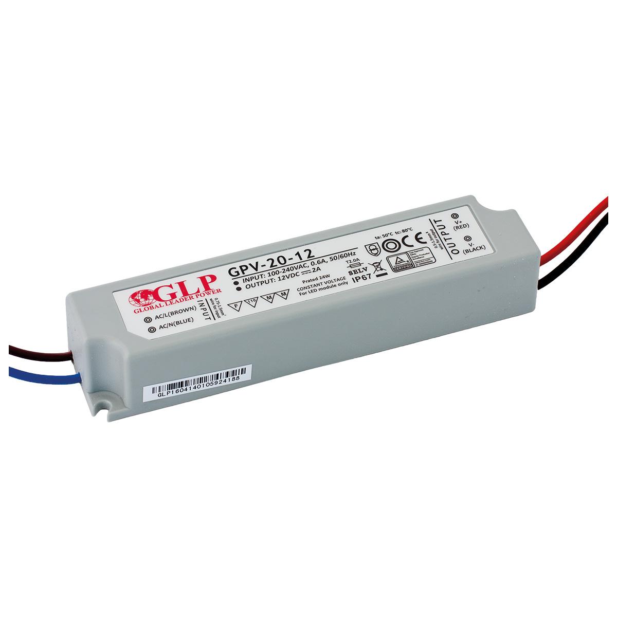 LED trafo GLP GPV-20-12 venkovní IP67 24W 12V, záruka 3 roky