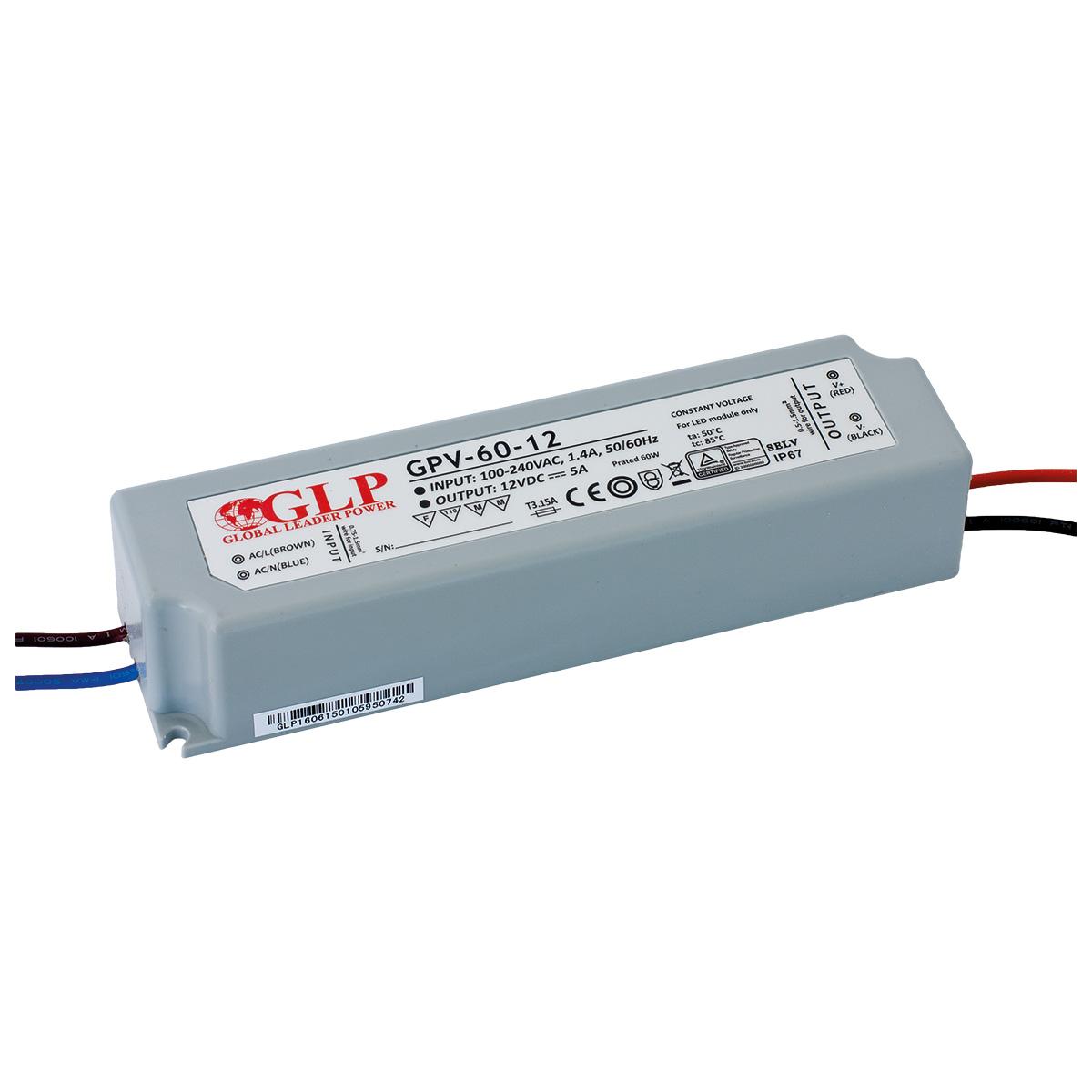 LED trafo GLP GPV-60-24 venkovní IP67 60W 24V, záruka 3 roky