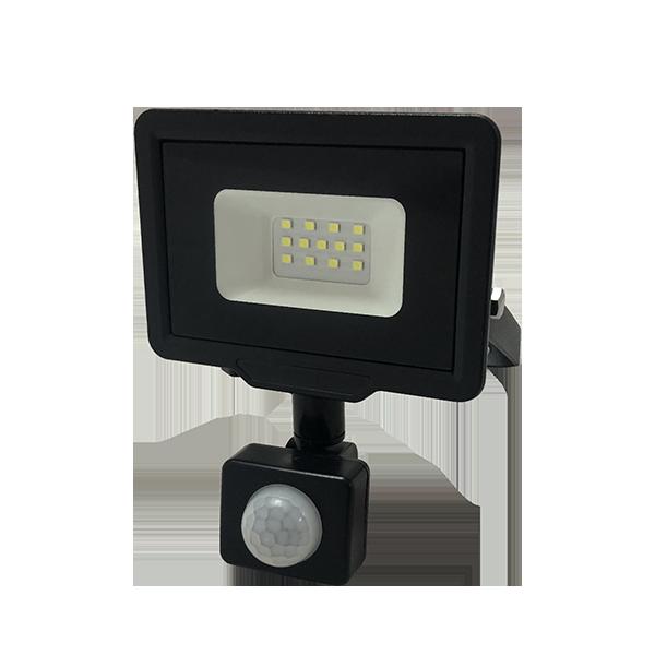 LED reflektor SMD CITY PIR IP65 černý 10W 2700K